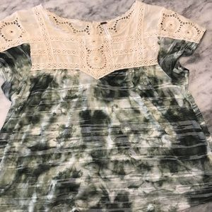 Free People Green and Cream Babydoll Eyelet Shirt